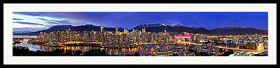 Vancouver Skyline Panorama Framed Prints
