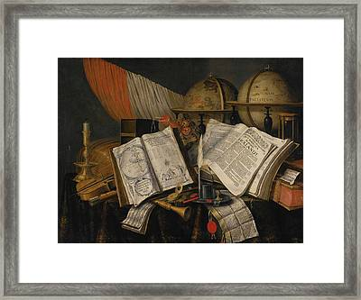Vanitas Still Life With A Candlestick Framed Print