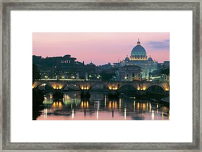 Vatican Skyline  View Of St Peters Basilica In The Evening Framed Print