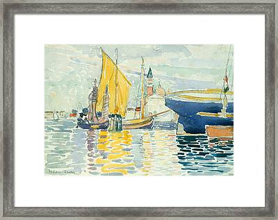 Venice-the Giudecca Framed Print by Henri-Edmond Cross