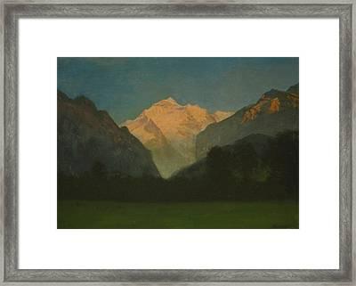 View Of Glacier Park Or Sunset On Peak Framed Print by Albert Bierstadt