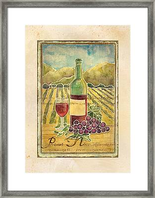 Vineyard Pinot Noir Grapes N Wine - Batik Style Framed Print by Audrey Jeanne Roberts