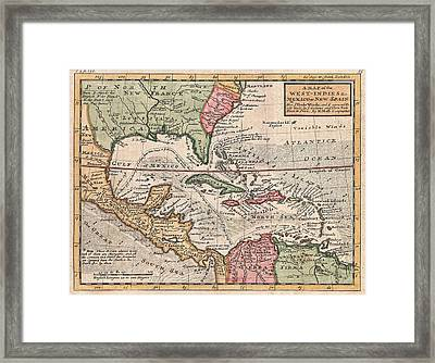 Vintage Map Of The Caribbean Framed Print by CartographyAssociates