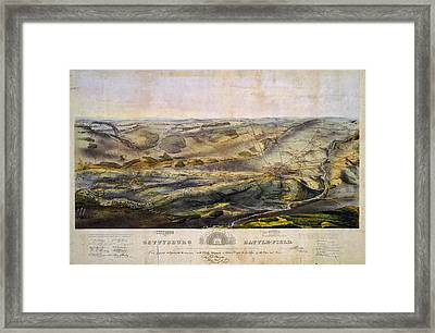 Vintage Map Of The Gettysburg Battlefield - 1863 Framed Print by CartographyAssociates