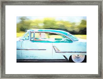 Vintage Val In The Turquoise Vintage Car Framed Print