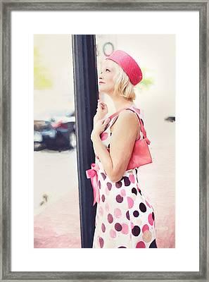 Vintage Val The Coral Hat Framed Print