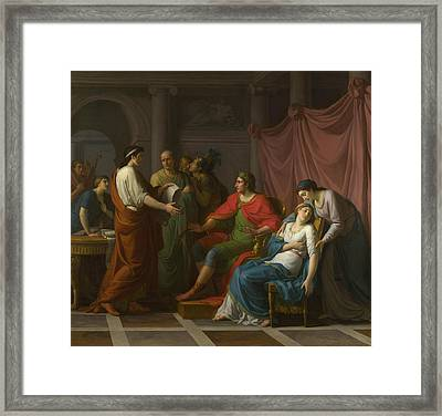 Virgil Reading The Aeneid To Augustus And Octavia Framed Print by Jean Joseph Taillasson