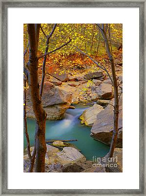 Virgin River In Autumn Framed Print by Dennis Hammer