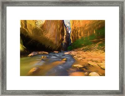 Virgin River - Zion National Park Watercolor Framed Print