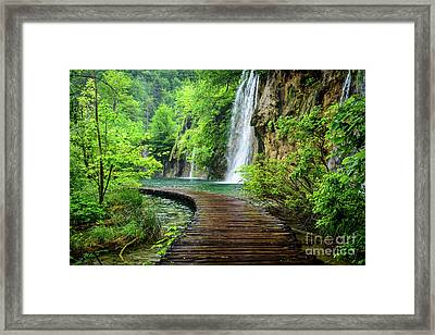 Walking Through Waterfalls - Plitvice Lakes National Park, Croatia Framed Print