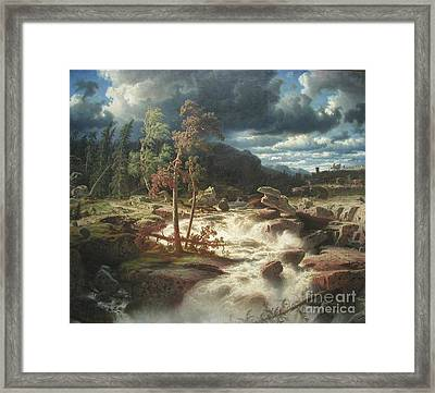 Waterfall In Smaland Framed Print by Celestial Images