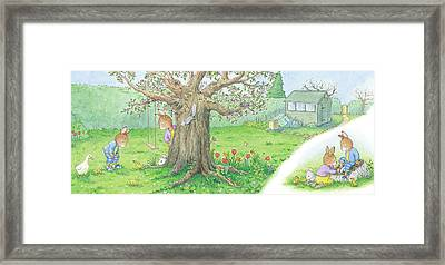 We Have Ducklings By Our Tree -- No Text Framed Print by June Goulding