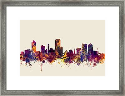 Wellington New Zealand Skyline Framed Print
