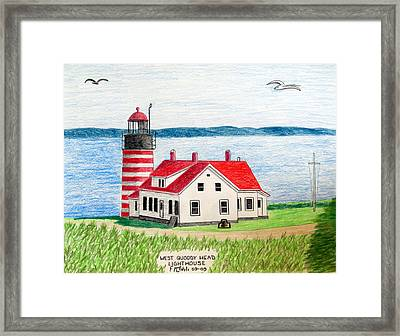 West Quoddy Head Lighthouse Framed Print by Frederic Kohli