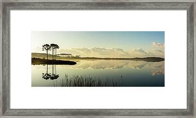Western Lake Misty Morning Panorama Framed Print