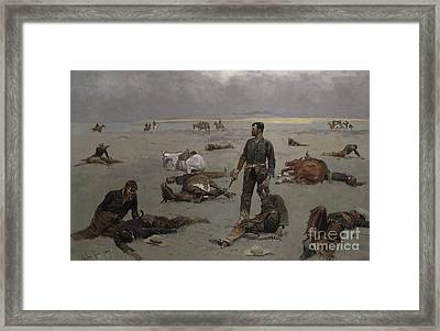 What An Unbranded Cow Has Cost Framed Print by Frederic Remington