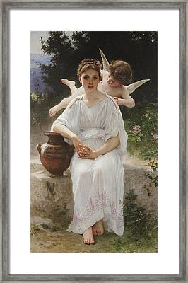 Whisperings Of Love Framed Print by William-Adolphe Bouguereau