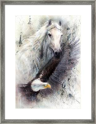 White Horse With A Flying Eagle Beautiful Painting Illustration Framed Print by Jozef Klopacka