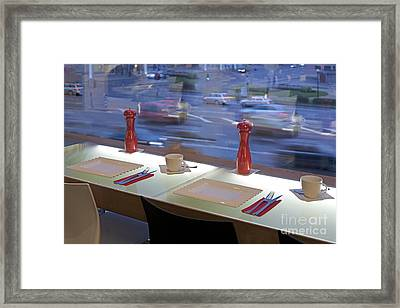 Window Seating In An Upscale Cafe Framed Print by Jaak Nilson