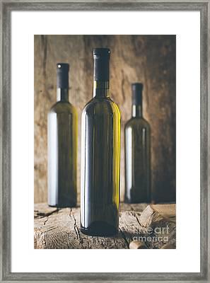 Wine On Wood Framed Print by Mythja Photography
