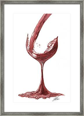 Red Wine Pouring Framed Print by Julie Senf