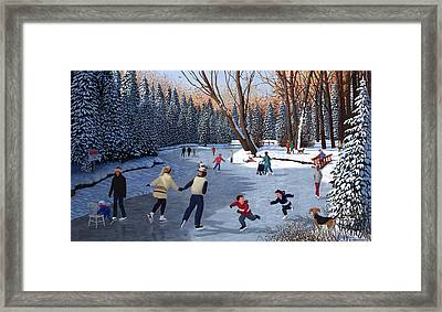 Winter Fun At Bowness Park Framed Print