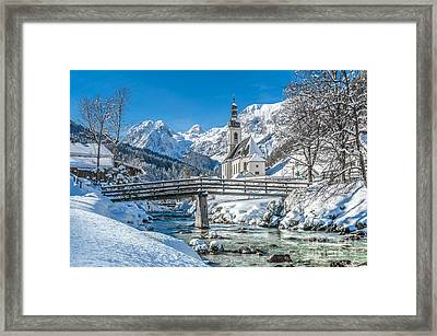Winter Landscape In The Bavarian Alps With Church, Ramsau, Germa Framed Print