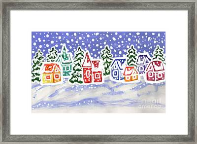 Winter Landscape With Multicolor Houses, Painting Framed Print