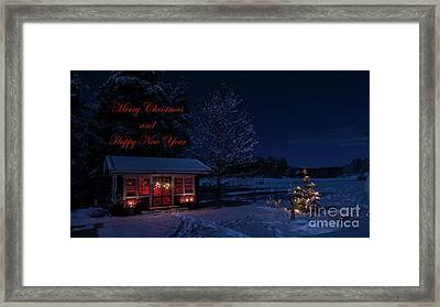 Framed Print featuring the photograph Winter Night Greetings In English by Torbjorn Swenelius