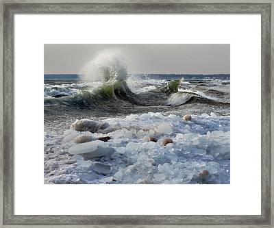Winter Waves At Whitefish Dunes Framed Print