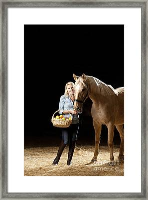 Woman And Horse With Apples Framed Print by Wolfgang Steiner