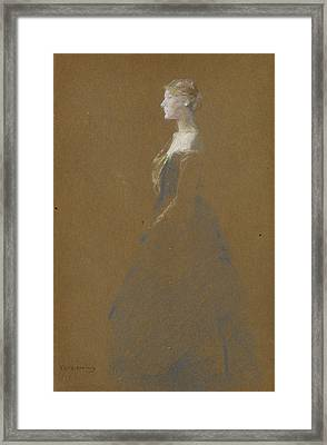 Woman In A Blue Dress Framed Print by Thomas Wilmer Dewing