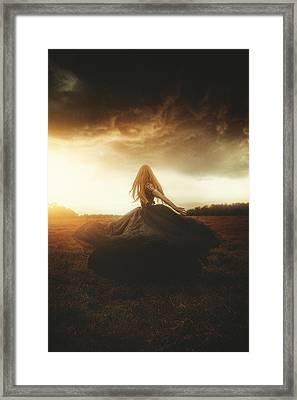 Woman In Black Framed Print by TJ Drysdale