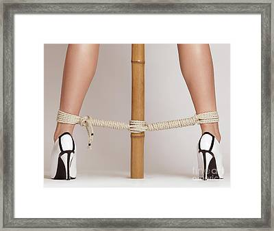 Woman Legs Tied With Ropes To Bamboo Framed Print by Oleksiy Maksymenko