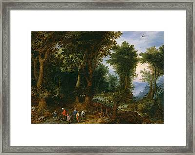 Wooded Landscape With Abraham And Isaac Framed Print by Jan Brueghel the Elder
