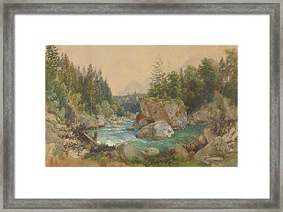 Wooded River Landscape In The Alps Framed Print