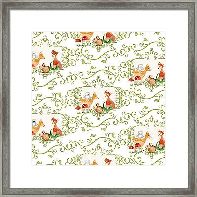 Woodland Fairytale - Animals Deer Owl Fox Bunny N Mushrooms Framed Print by Audrey Jeanne Roberts