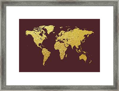 World Map Gold Foil Framed Print by Michael Tompsett