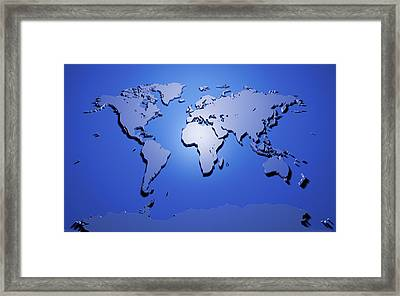 World Map In Blue Framed Print by Michael Tompsett
