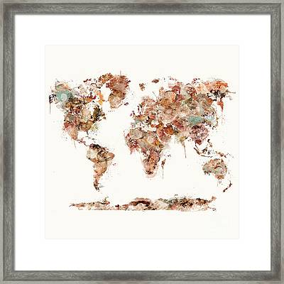 Framed Print featuring the painting World Map Watercolor by Bri B