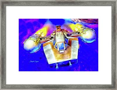 Y-wing Fighter - Watercolor Style Framed Print by Leonardo Digenio