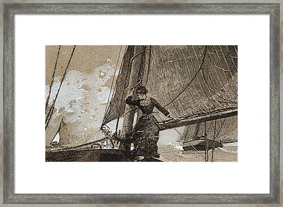 Yachting Girl Framed Print by Winslow Homer