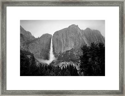 Yosemite Falls Vertical B And W Framed Print