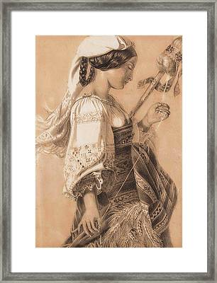 Young Italian With Distaff Framed Print by Mihaly Kovacs