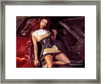 Young Woman In A Crashed Car Framed Print