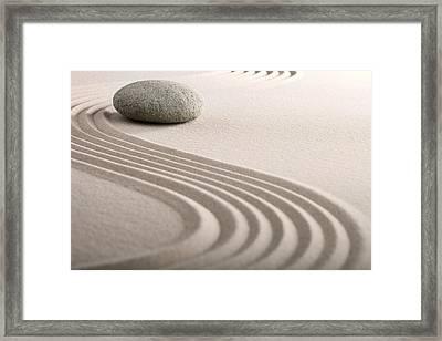 Zen Sand Stone Garden Framed Print