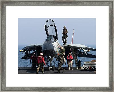 An F-14d Tomcat On The Flight Deck Framed Print by Gert Kromhout