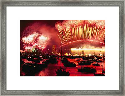 20 Tons Of Fireworks Explode Framed Print by Annie Griffiths