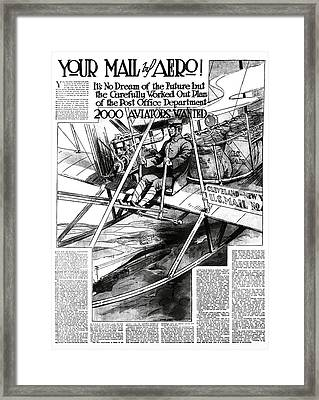 2000 Aviators Needed For U. S. Mail Delivery 1914 Framed Print