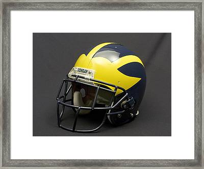 Framed Print featuring the photograph 2000s Era Wolverine Helmet by Michigan Helmet
